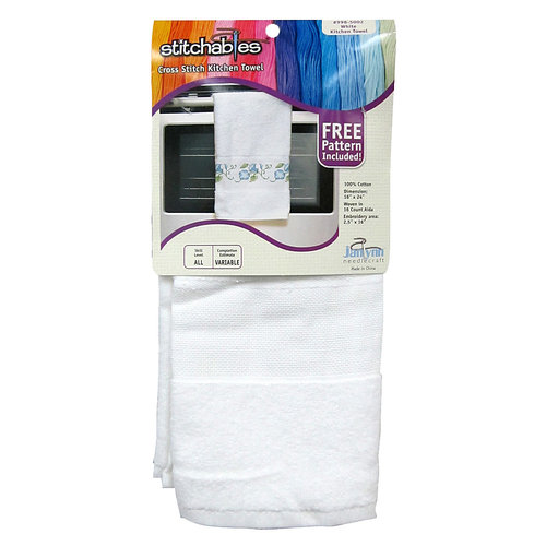 """Kitchen Classic Towel 14 Count 16""""X24""""-White"""
