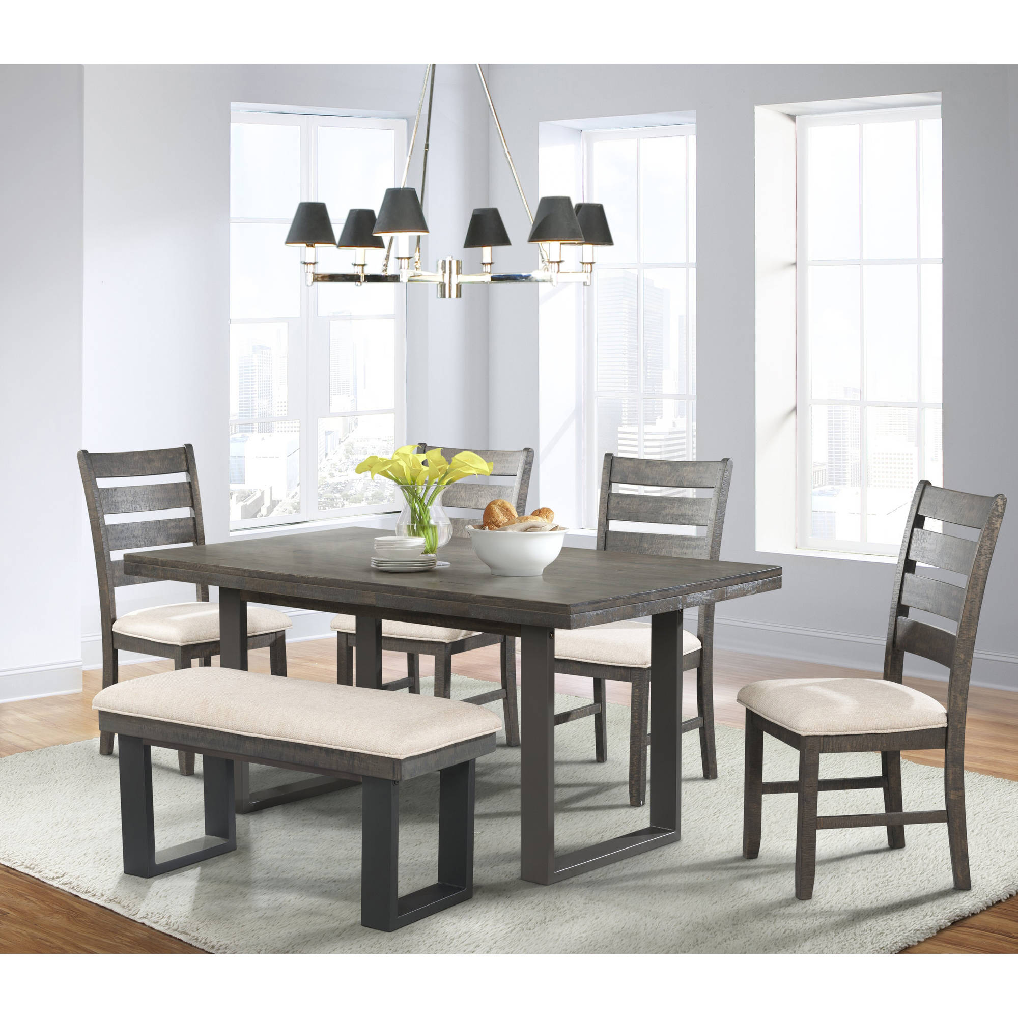 Picket House Furnishings Sullivan 6 Piece Dining Set With Table, 4 Side  Chairs And Bench