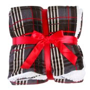 Simplicity Faux Sherpa Fahion Holiday Plaid Fleece Reversible Blanket Grey/Black