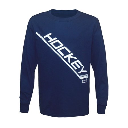 Boy's Youth Diagonal Ice Hockey Stick Long Sleeve T-Shirt Medium (Bauer Hockey Shirt With Neck Guard Youth)