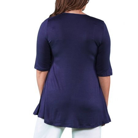 24/7 Comfort Apparel Women's Plus Size Elbow Sleeve Tunic