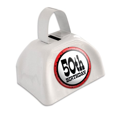 50th Fiftieth Birthday Red Black Polka Dots White Cowbell Cow Bell