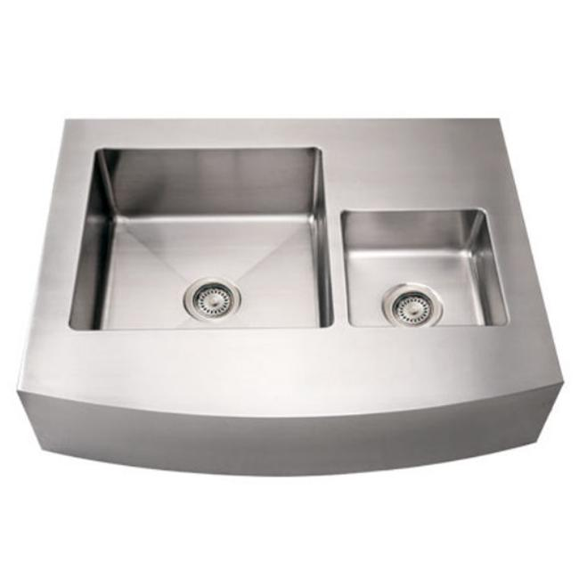 Alfi Trade  36 in. Noahs Collection commercial double bowl sink with an arched front apron- Brushed Stainless Steel