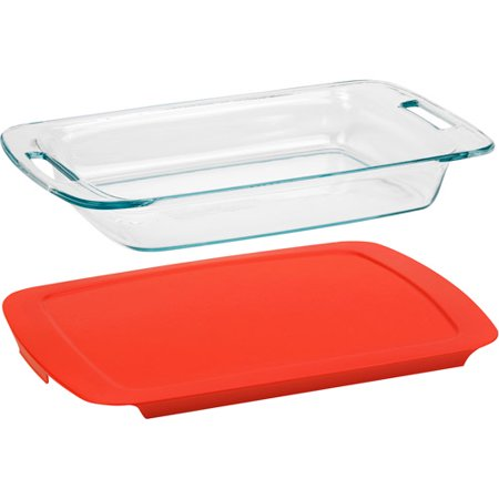 Pyrex Easy Grab Glass Baking Dish with Red Lid, 3-quart