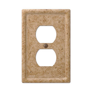 Noce Travertine Texture Faux Stone Single Duplex Outlet Wall Plate Cover