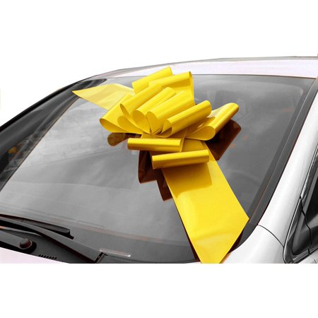 Big Yellow Car Bow Ribbon - Large Gift Decoration, Fully Assembled, 25