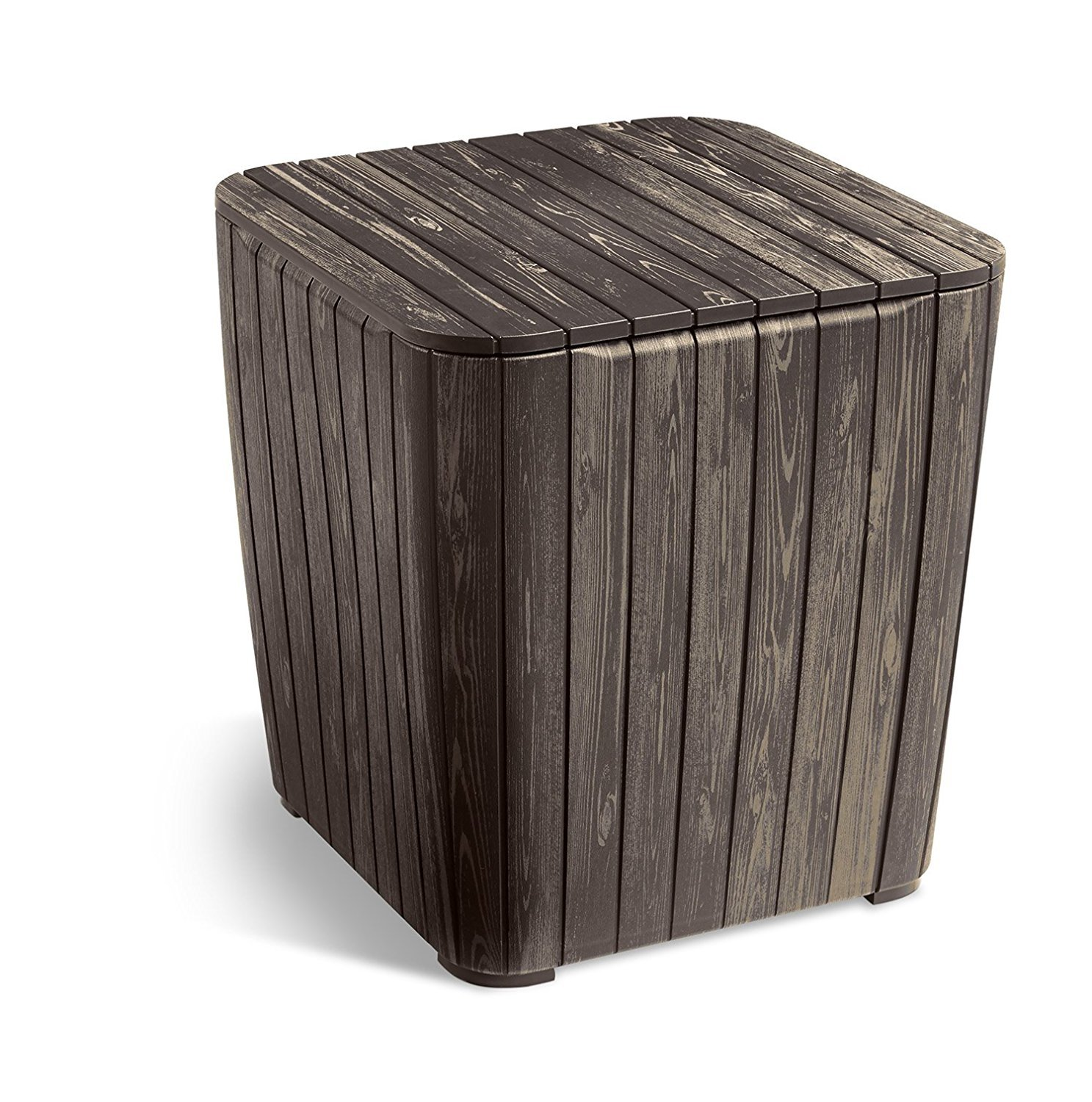 Keter Luzon Patio Side Coffee Table Outdoor Furniture Durable Resin Plastic  Realistic Wood Look, Brown