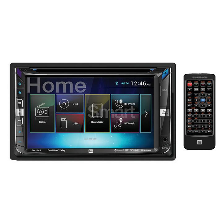 "Dual AV Double Din 6.2"" Touch Screen DVD BT 2.1A USB remote HDMI Android 2-Way"