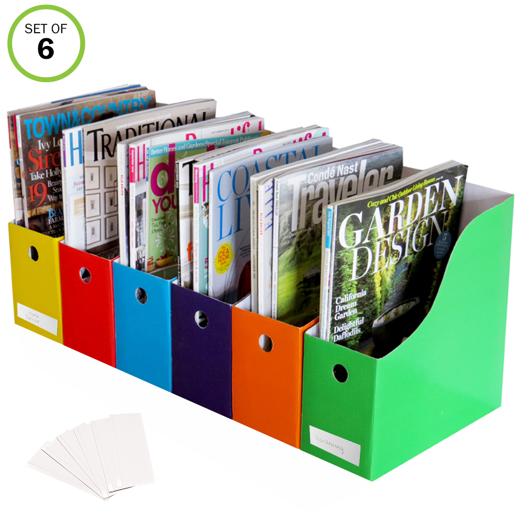 Evelots 6 Heavy Duty Magazine/File Holders W/ Adhesive Labels, Multi Color