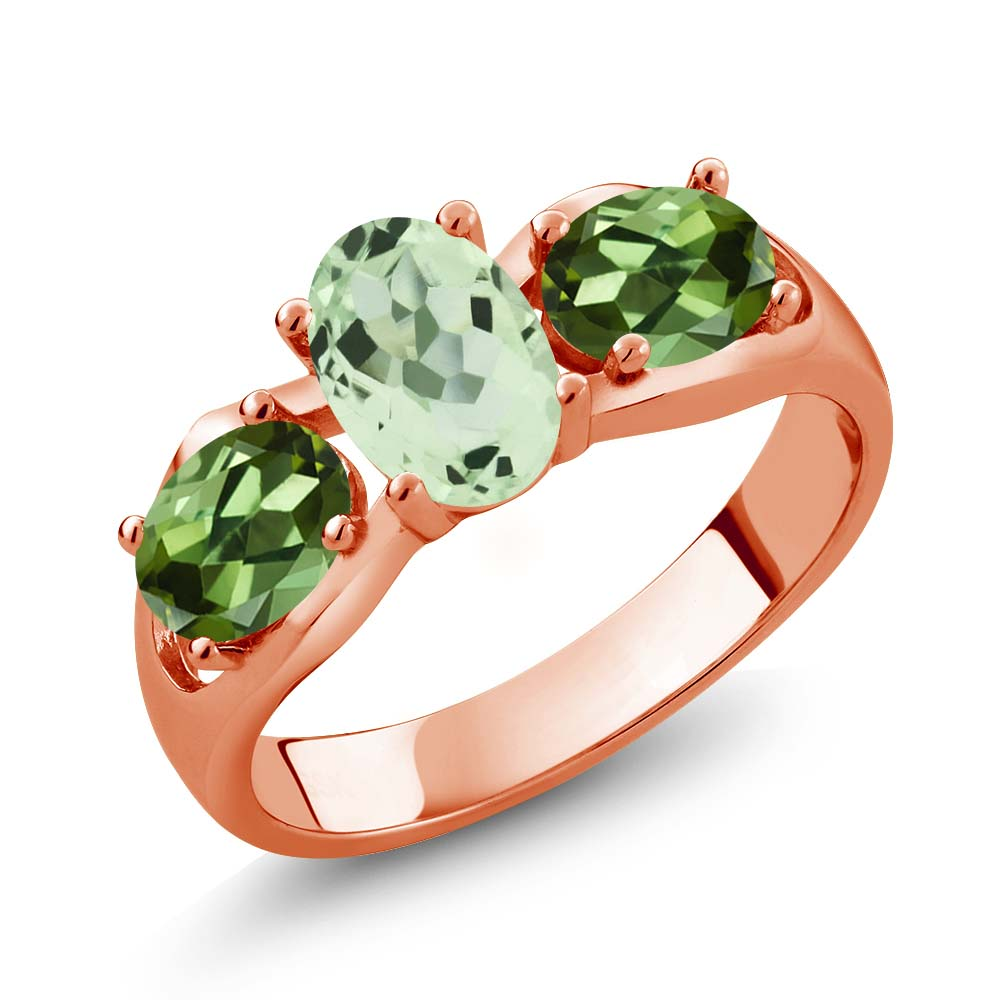 1.75 Ct Oval Green Amethyst Green Tourmaline 14K Rose Gold Ring by