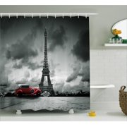 Eiffel Tower Decor Shower Curtain Set, Artistic Image Of Effel Tower, Paris, France And Vintage Car Street Dark Clouds , Bathroom Accessories, 69W X 70L Inches, By Ambesonne
