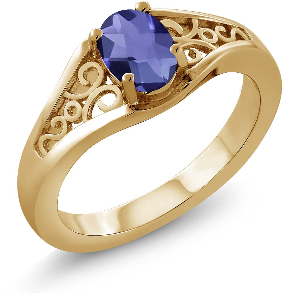 0.65 Ct Oval Checkerboard Blue Iolite 925 Yellow Gold Plated Silver Ring