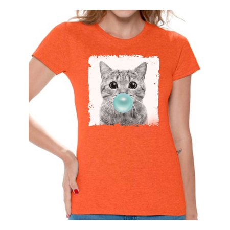 Animal With Womens (Awkward Styles Funny Animal Clothes Shirt for Woman Lovely Animal Lovers Gifts for Her Cat Clothing Cat T Shirt Cute Animal T Shirt Baby Cat Shirt Women T Shirt Little)