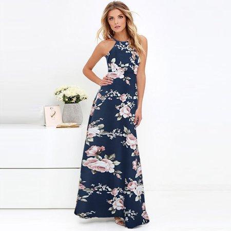 New Women Maxi Dress Halter Neck Floral Print Sleeveless Summer Beach Holiday Long Slip Dress Halter Slip Dress