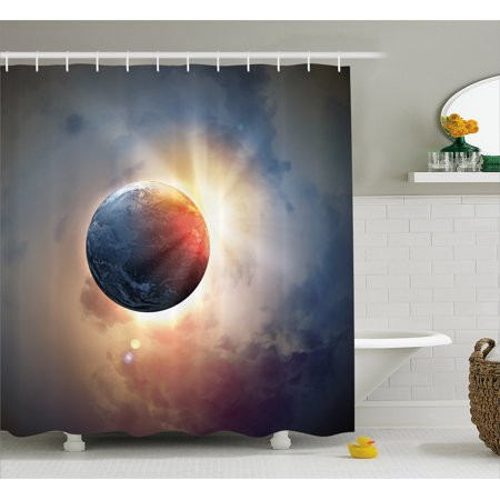 World Shower Curtain Days Cycle Theme Rising Sun Planet In Space Astronomy Cloudscape Atmosphere Fabric Bathroom Set With Hooks Yellow Blue Beige