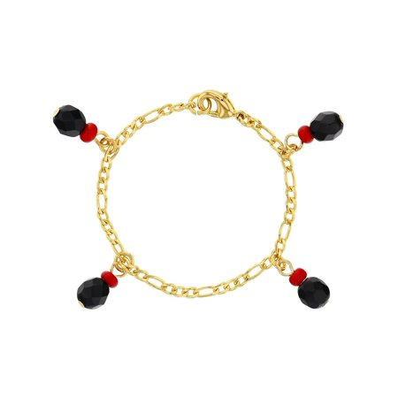 18k Gold Plated Simulated Azabache Evil Eye Protection Bracelet For Babies 4 5