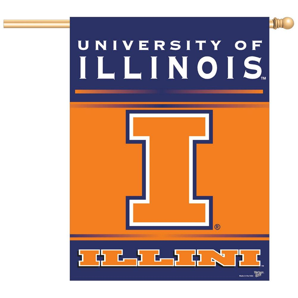 University of Illinois Vertical Outdoor House Flag