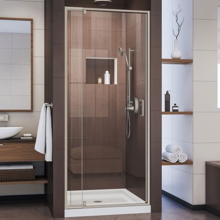 Kohler Purist Pivot Shower Door (DreamLine Flex 32-36 in. W x 72 in. H Semi-Frameless Pivot Shower Door in Brushed Nickel)