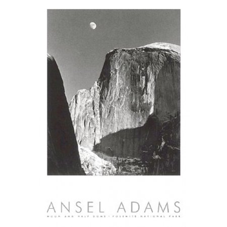 Moon and Half Dome (embossed) Poster Print by Ansel Adams (24 x 36) ()