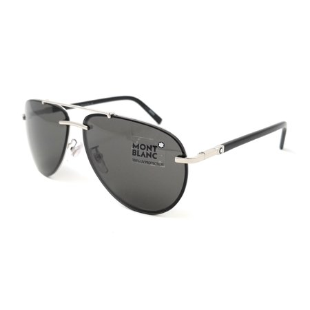 361926165b6 Montblanc - Mont Blanc Sunglasses MB596S-F 16A Silver Black - Walmart.com