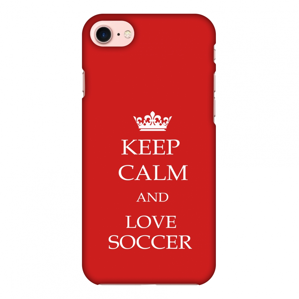 iPhone 7 Case - Soccer - Keep Calm Love Soccer - Red, Hard Plastic Back Cover, Slim Profile Cute Printed Designer Snap on Case with Screen Cleaning Kit