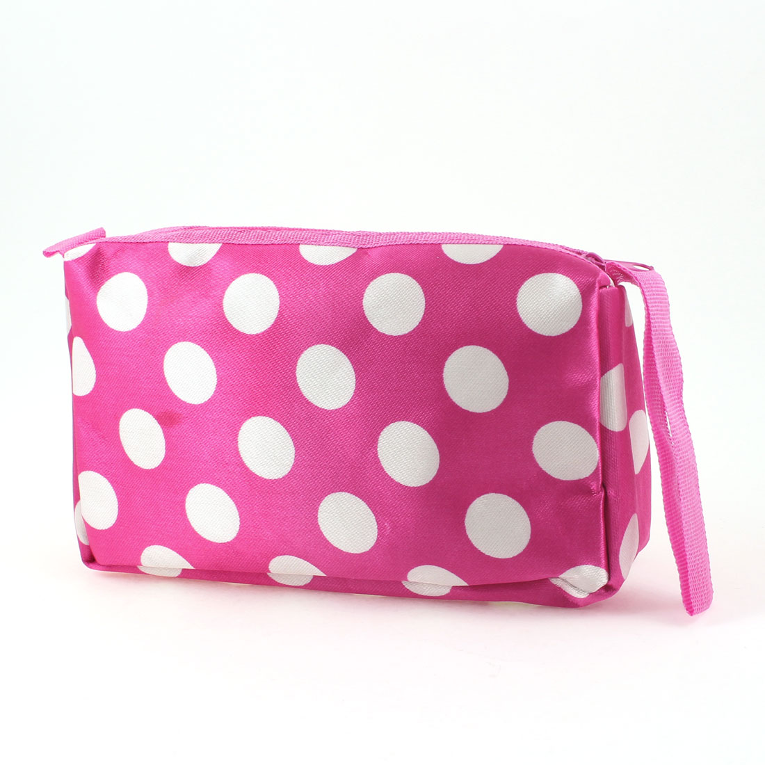 Zipper Polyester White Dots Prints Cosmetic Makeup Pouch Bag Fuchsia for Women