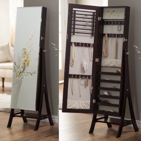 Belham Living Large Standing Mirror Locking Cheval Jewelry Armoire - -
