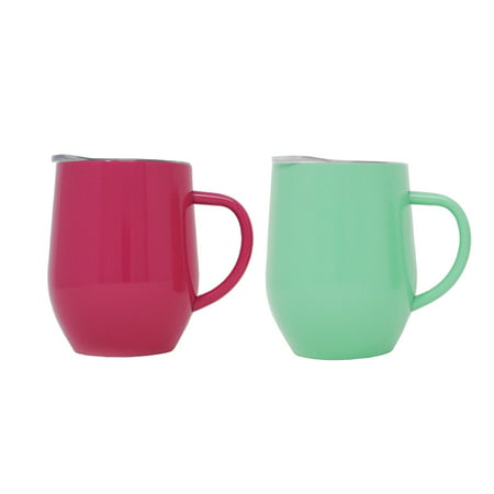 2 Pack Ezprogear 12 oz Coffee Mug Cup Stainless Steel Double Wall Vacuum Insulated with Handle & Slider Lid (Green/Fuchsia)