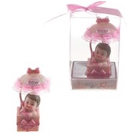 Ddi 1774763 Baby in Gift Box with Awning Poly Resin - Pink Pack of 48