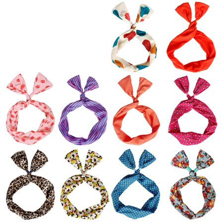 BMC 10 Pack Women s Flexible Wire Bunny Ear Head Band Hair Wrap Bow Pin-Up  Girl Fashion Scarf - Anti-Slip Design Stays in Place All Day - Versatile  Twisted ... 317b3545a6c