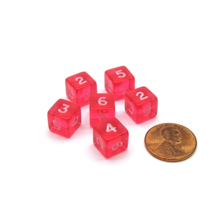 Translucent 9mm Mini 6 Sided D6 Chessex Dice, 6 Pieces - Pink with White Numbers](Pink Dice For Car)