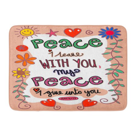 Godpok Religious Bible Doodle Scripture Text Which Says Peace I Leave With You My Give Unto John 14 V 27 Verse Rug Doormat Bath Mat 236x157 Inch