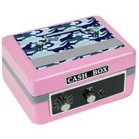Personalized Blue Camo Cash Box