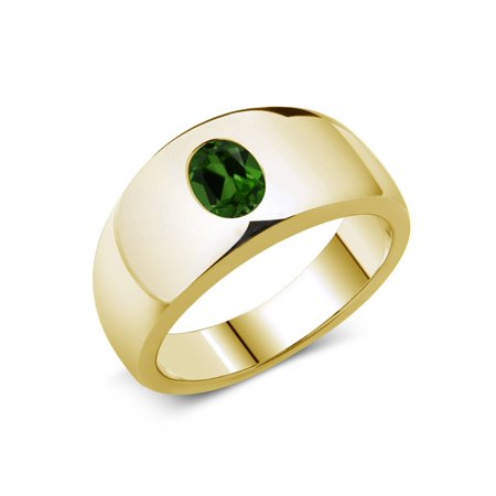 1.20 Ct Oval Green Chrome Diopside 18K Yellow Gold Plated Silver Men's (18k Diopside Ring)