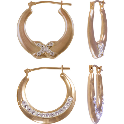 18kt Gold Over Sterling Silver Crystal Accent Hoop  Earrings Set