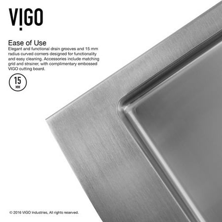 Vigo 36 Inch Farmhouse A 60 40 Double Bowl 16 Gauge Stainless Steel Kitchen Sink