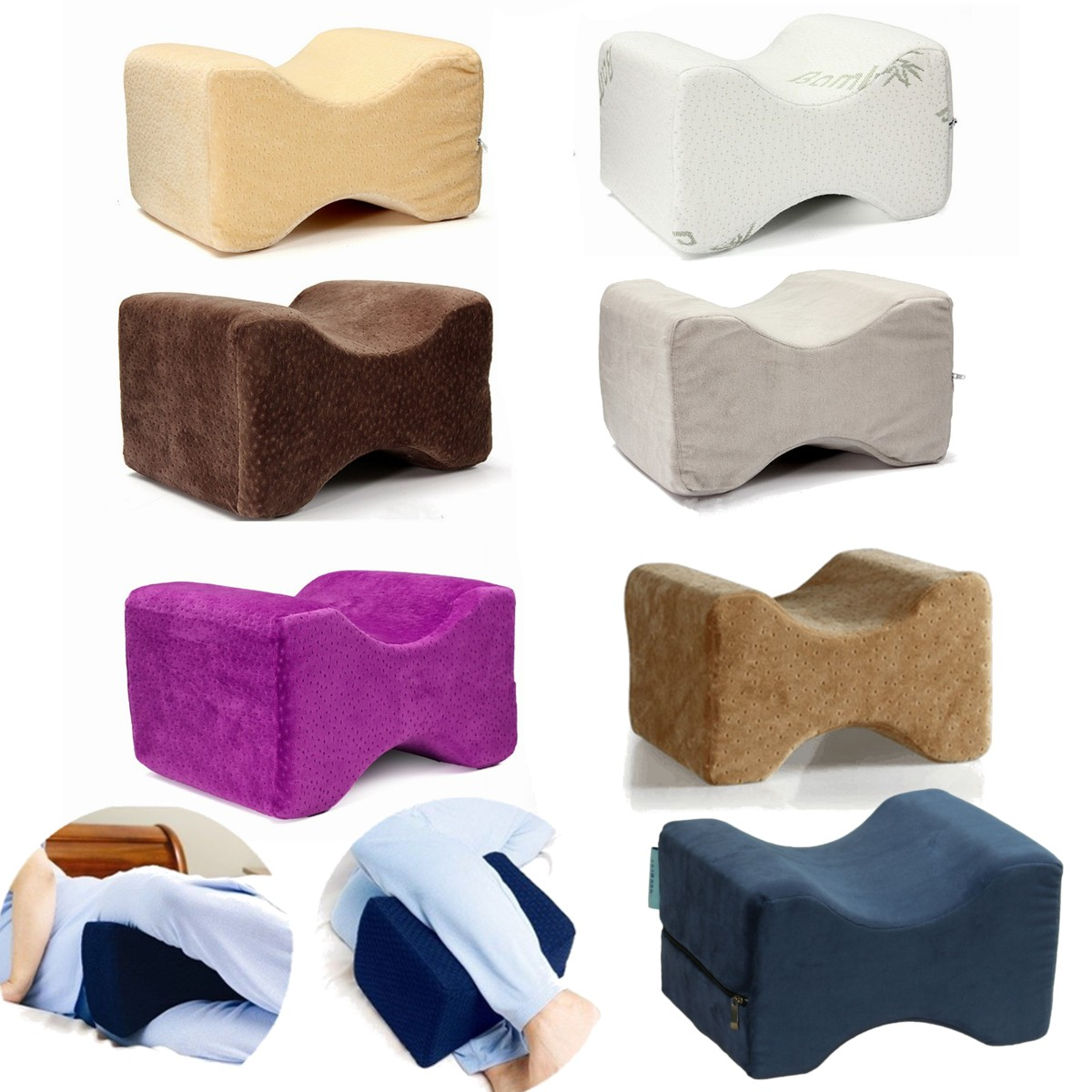 SaicleHome Breathable Memory Foam Knee & Leg Pillow Cushion - Pain Relief Wedge For Sciatic Nerve & Legs & Back
