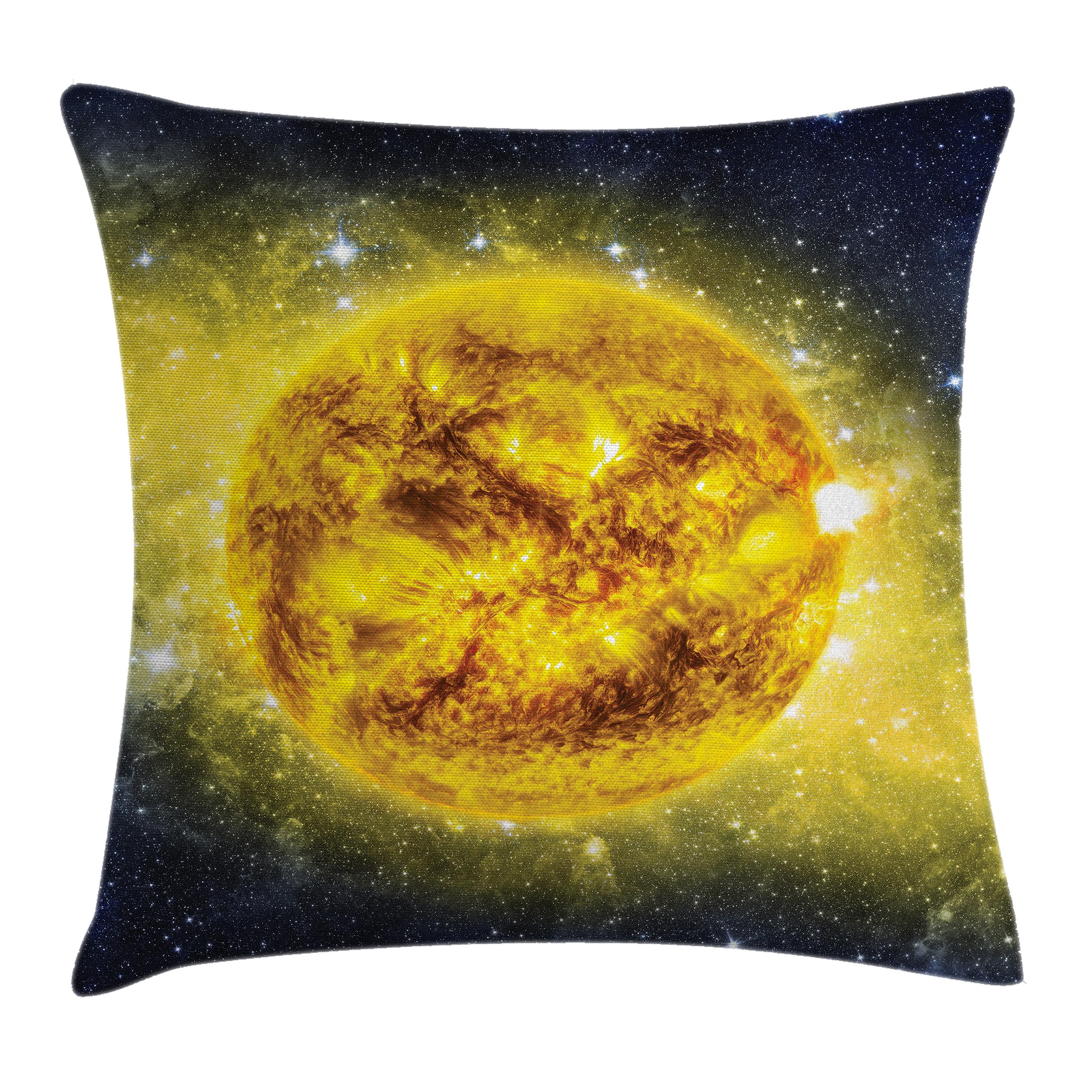 Galaxy Throw Pillow Cushion Cover, Panorama of Sun in Space with Luminous Effects Dynamic Center of Solar System Print, Decorative Square Accent Pillow Case, 24 X 24 Inches, Yellow Blue, by Ambesonne