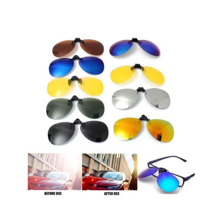 Colorful Day Night Vision Lenses Fashion UV400 Polarized Flip Up Sunglasses Clip-On Lens Men Women Metal Eyewear For Fishing Night-Driving (Sunglasses Uv400 Polarized Magnetic Clip)