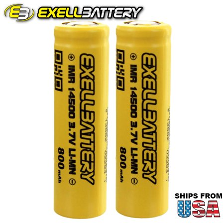 2x IMR 14500 3.7V 800mAh Li-Ion Rechargeable Batteries Mod Vape