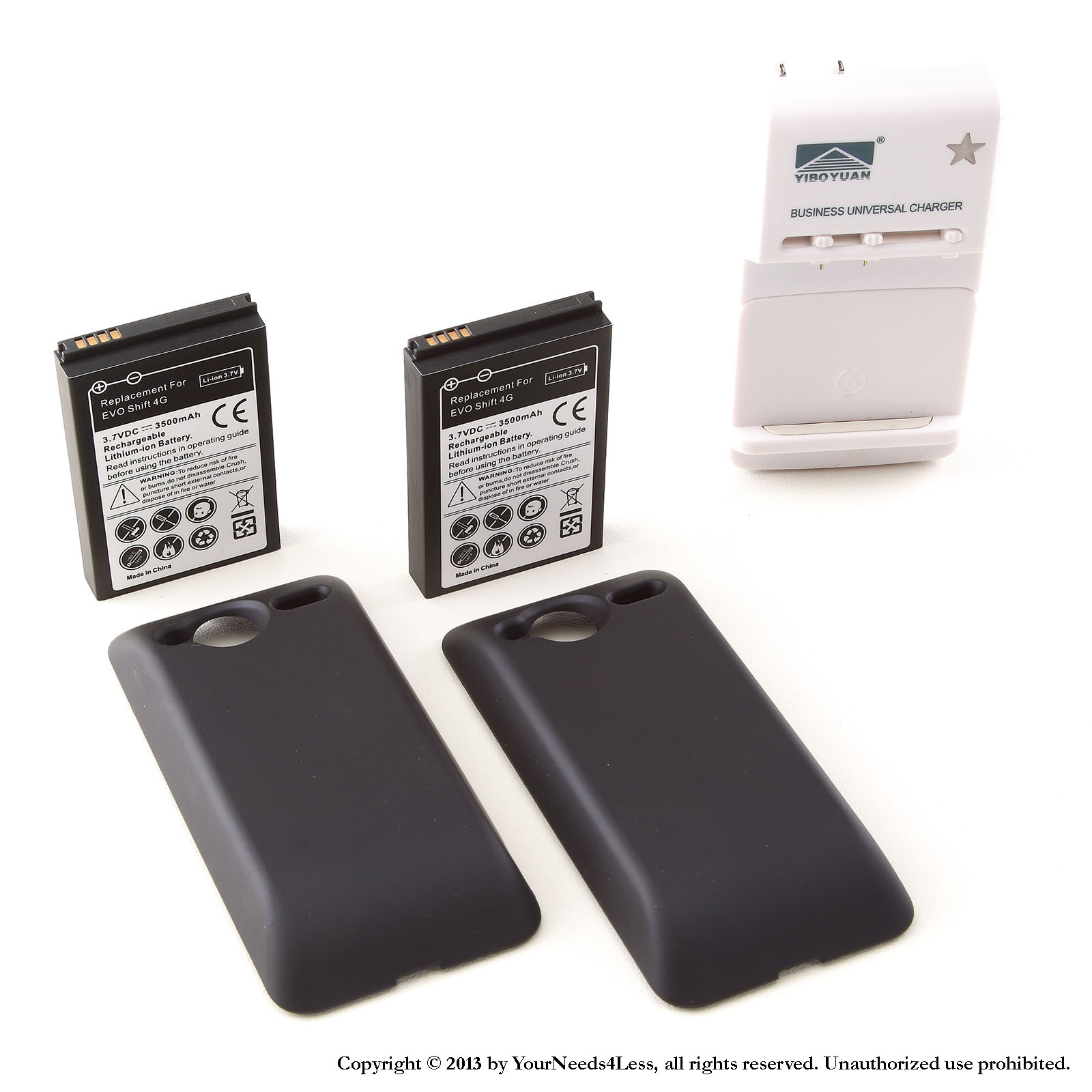 YN4L® 2 X 3500mAh Extended Battery for HTC Evo Shift 4G with Black Extended Back Cover + Wall Dock Charger Bundle