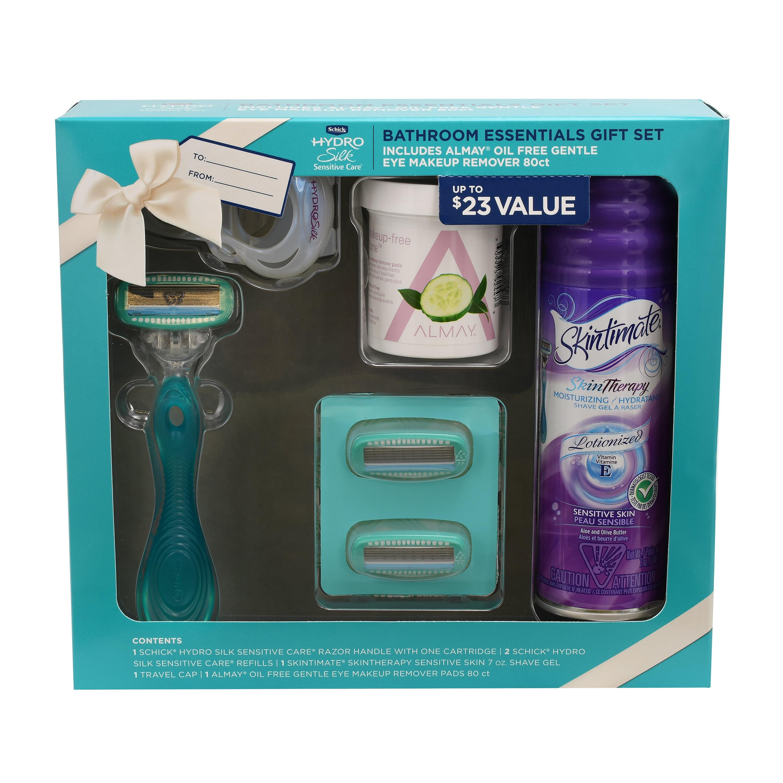 Schick Hydro Silk Bathroom Essentials Holiday Gift Set including 1 Razor, 2 Razor Blades, 1 Travel Cap, 1 Shave Gel, and Almay Makeup Remover Pads