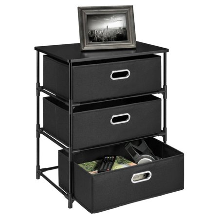 Ameriwood Home Sidney 3 Bin Storage End Table, Black ()