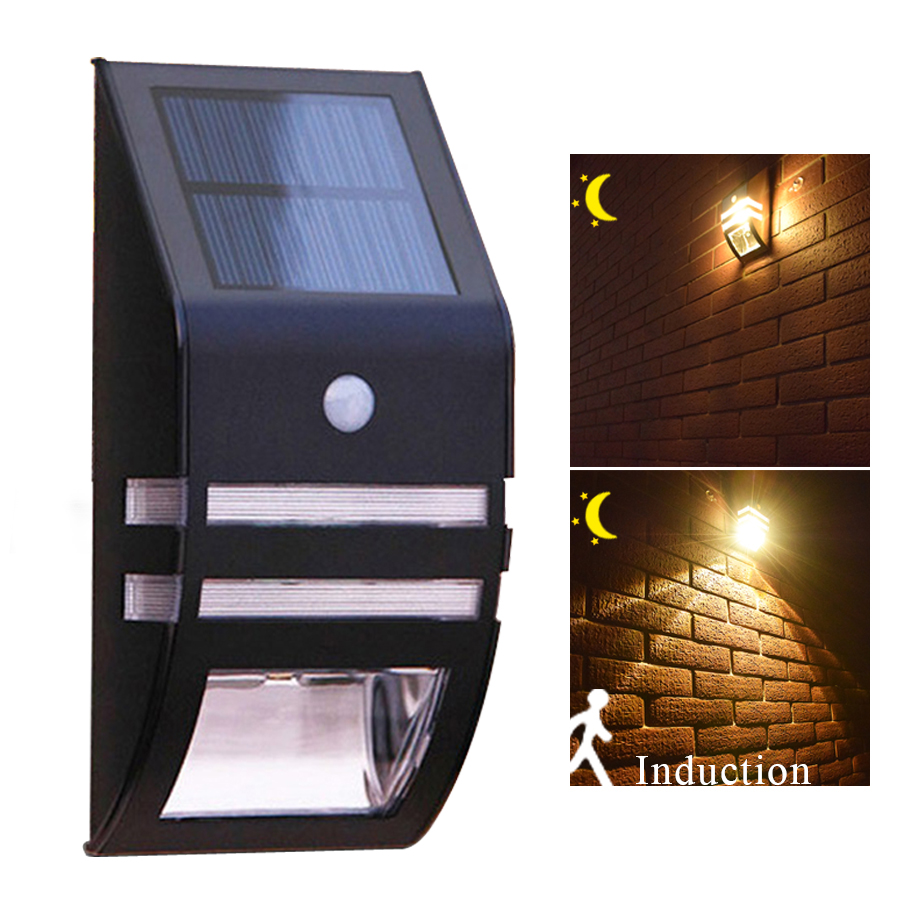 LED Solar Light Outdoor Solar Lamp PIR Motion Sensor Solar Powered Waterproof Wall Light For Garden Yard Path Decoration Light (Warm White)