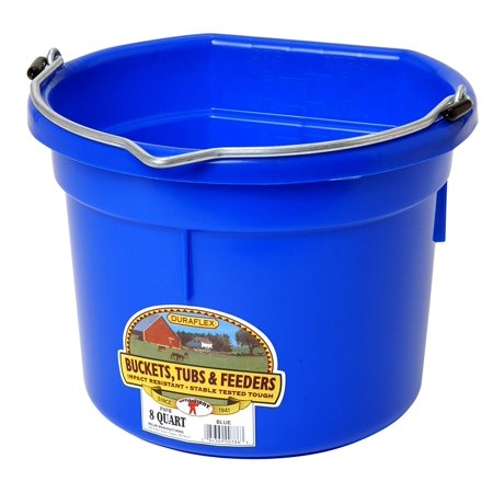 Manufacturing P8FBBLUE Plastic Flat Back Bucket for Horses, 8-Quart, Blue, Eight Quart Capacity By Miller](Plastic Buckets With Handles)