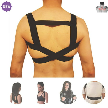 Lightweight Back Support - Shoulder Posture Corrector by FOMI Care | Upper Back Support and Brace | Lightweight, Fastener Strap | Back Straightener to Promote Healthy Postural Position and Correct Spinal Alignment