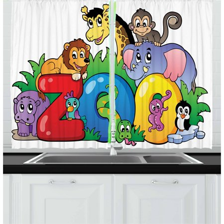 Character Curtain - Zoo Curtains 2 Panels Set, Zoo Sign with Various Animals Mascot Cartoon Characters Cute Playful Kids Room Print, Window Drapes for Living Room Bedroom, 55W X 39L Inches, Multicolor, by Ambesonne