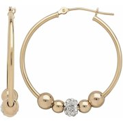 Simply Gold 10kt Yellow Gold 30mm Round Hoop with 4 Polished Beads and 1 Crystal Bead Earrings