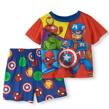 (Toddler Boy Short Sleeve Top & Shorts Pajamas, 2pcs Set)