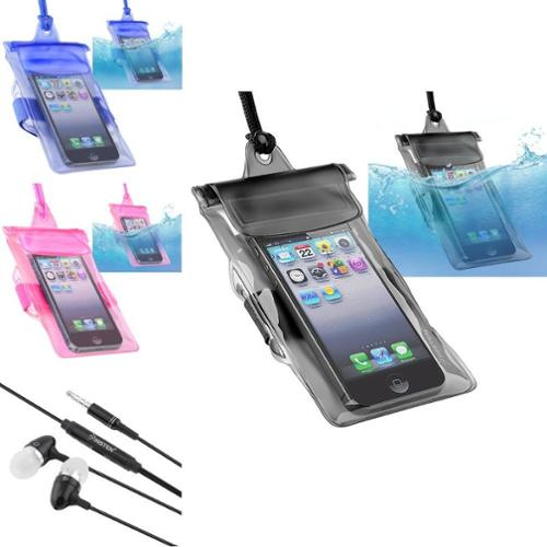 Insten 3in1 Black+Blue+Pink Waterproof Case For iPod Touch 1 2 3 5 5th 5G+Black Headset